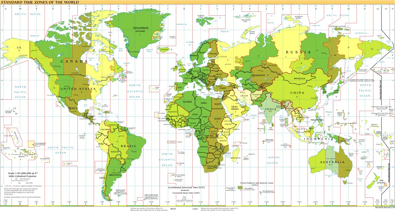 Time Zones Of The World Map Large Version - Map showing us time zones